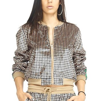 Stripe Trim Houndstooth Zip Up Jacket
