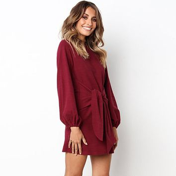 2018 autumn and winter new casual straps long-sleeved dress women's clothing