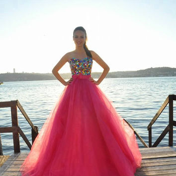Colorful Crystals Prom Dresses,Red Chiffon Prom Dress