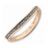 Sterling Silver Stackable Expressions & Diamonds Pink-plated Wave Ring: RingSize: 7