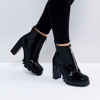 ASOS ENZO Leather Zip Heeled Boots at asos.com
