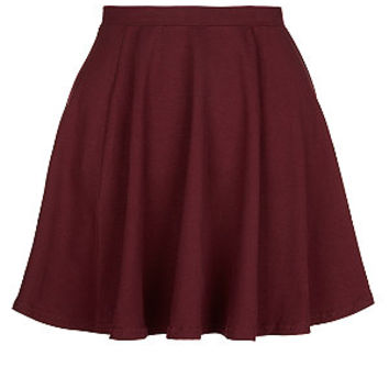 Teens Burgundy Jersey Skater Skirt