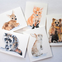Woodland Animal Watercolor Card Set Greeting Cards 5x7