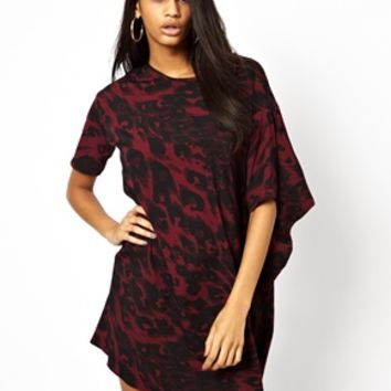 ASOS Asymmetric Shift Dress In Animal Print