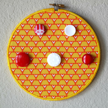 Necklace, Bracelet Decorative Hanger, Yellow, Red, White Wood Hoop