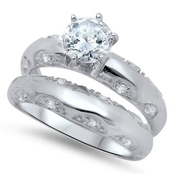Sterling Silver CZ Brilliant Round Cut Solitaire Wedding Ring Set 5-10