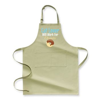 Cat Lover Will Work For Donuts, Cat Apron