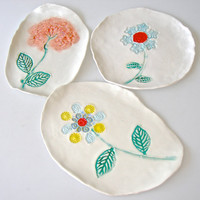 Ceramic Serving Plates, hand painted flower dishes, snack plates, tapas plates, appetizer plates, spoonrests, soap dish