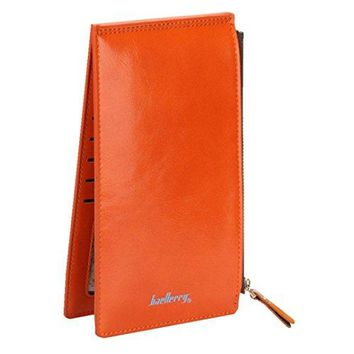 Long Fold Wallet for Women Oil Wax Leather Purse Slim Thin Card Organizer Phone Clutch Wallet with Zipper Pocket
