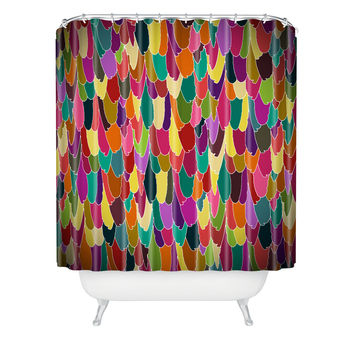 Sharon Turner Feather Vignette Shower Curtain