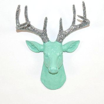 Faux Deer Head   The Mini Agnes   Seafoam Green W/ Silver Glitter Antlers Resin Deer Head  Stag Resin White Faux Taxidermy