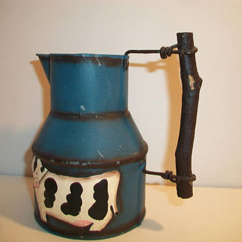 Rustic Blue Cow Pitcher Country Farmhouse Jug Vase Kitchen Home Decor