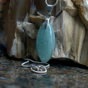 Aquamarine pendant marquise shape natural stone with a silver plated bail and necklace