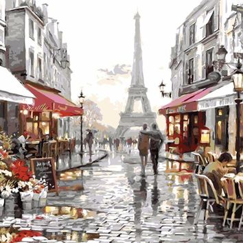 Art Oil Painting coloring canvas picture Paris Tower No Frame