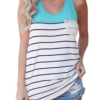 White Striped Blue Block Racerback Tank Top