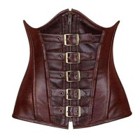 Daisy Corsets Top Drawer Dark Brown Distressed Faux Leather Underbust Buckle Corset