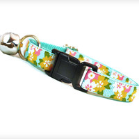 "Cat Collar - ""Cherry Blossom Girl"" - Flowers on Mint / Aqua"