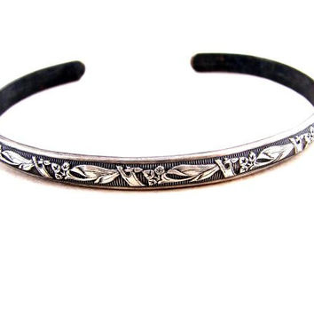 Sterling Silver Cuff Bracelet with Floral Design and Patina
