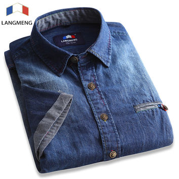 Langmeng 2016 Men High Street Denim shirts Summer male short sleeve cotton casual shirt man brand dress shirts camisa masculina