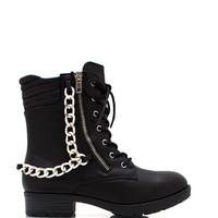 Time-For-A-Chain-Lace-Up-Boots BLACK CHESTNUT - GoJane.com