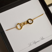 Partners in Crime....Gold Hand Cuff LInked Necklace...Friendship Necklace