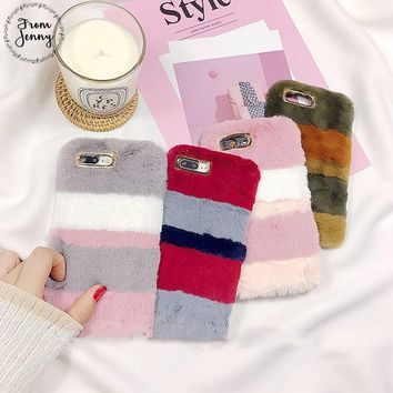 From Jenny Fluffy Mix Fur Silicon Phone Case For Apple iPhone 6 6s 7 7plus 8 8plus X Free Shipping Rabbit mix fur