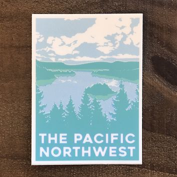 Blue and Green Pacific Northwest Vinyl Sticker