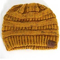 C.C. Beanie Cable Knit Beanie in Speckled Mustard HAT-33-MUSTARD