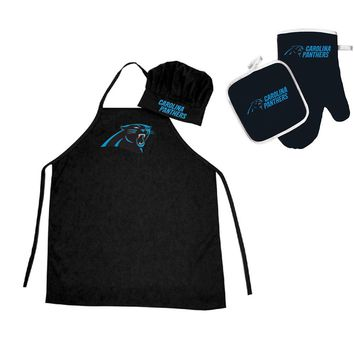 Carolina Panthers NFL Barbeque Apron , Chef's Hat and Pot Holder Deluxe Set
