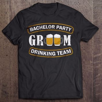 Bachelor Party Groom Drinking T-Shirts - Men's Crew Neck Novelty Tee