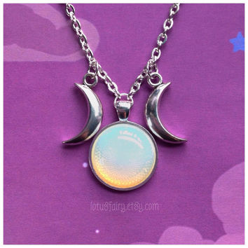 Opalite Triple Goddess Moon necklace