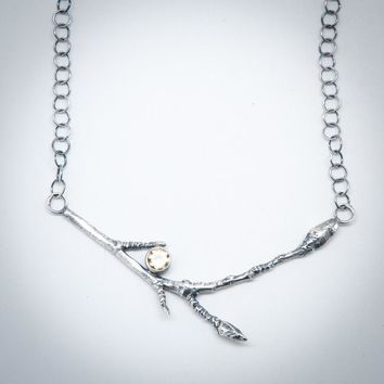 Topaz Silver Star Magnolia Branch Necklace