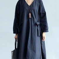Vintage Women Mori Girl V Neck Long Sleeve Casual Dresses