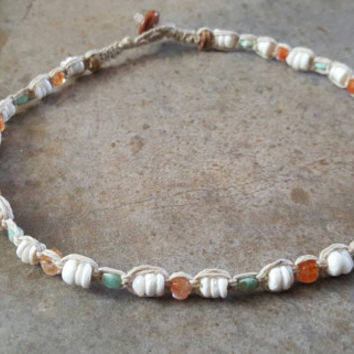 Hemp Necklace, Puka Shell Necklace, Handmade, Czech Glass Beads, Surfer Girl, Hemp Jewelry, Beach Jewelry, Gift for Her, Shell Necklace