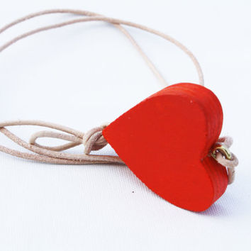 I (HEART) YOU - wooden heart pendant on leather cord,  orange necklace