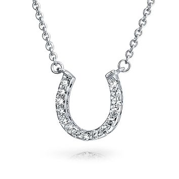 Horseshoe Pendant Necklace Pave Gold Plated Silver Or Sterling Silver