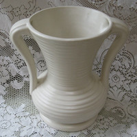 vintage pottery vase urn shaped cream matte glaze 9 inches tall