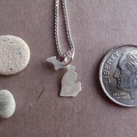 Tiny Michigan State Necklace (sterling silver)