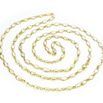 Vermeil Cz By the Yard Station Necklace, 36""