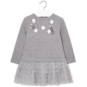 Mayoral Girls' Grey Tulle Mix Dress