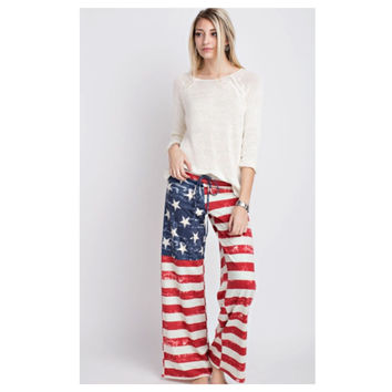 Cozy Me, Patriotic American Flag Lounge Pants