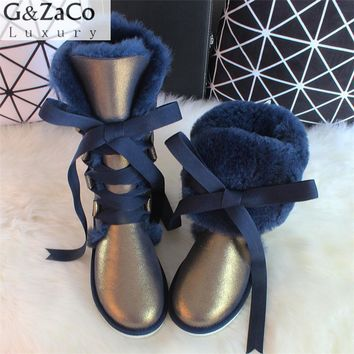 G&Zaco Luxury Winter Australia Knee -high Sheepskin Snow Boots Natural Wool Sheep Fur