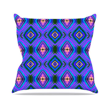 "Anne LaBrie ""Dark Diamond"" Purple Blue Outdoor Throw Pillow"