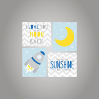 Nursery wall art prints-You are my sunshine-I love you to the moon and back - Printed on heavy weight matte paper-Nursery art print for boys
