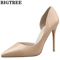 BIGTREE D'Orsay PU Leather 10.5CM Thin Heel Shoes For Women's Party High Heel Shoes Wedding Shoes Women Pumps Shoes DS638-5