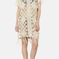 Topshop Fringed Crocheted Cover-Up