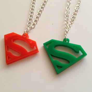 Superman Necklace by Bellabix on Etsy