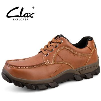 CLAX Men Leather Shoes Genuine Leather Spring Autumn Shoe Male 2017 Casual Footwear Vintage Retro Walking Shoe