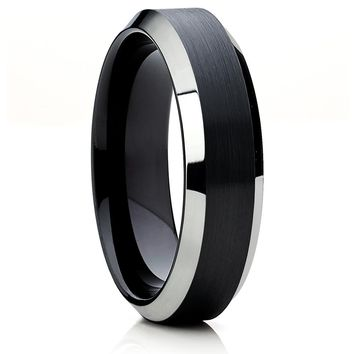 Black Tungsten Wedding Band - Black Tungsten Ring - Engagement Ring - 6mm