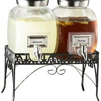 Amazon.com: Set of 2 Glass Beverage Dispensers with Metal Rack: Home & Kitchen